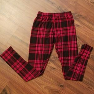 Red and black plaid leggings